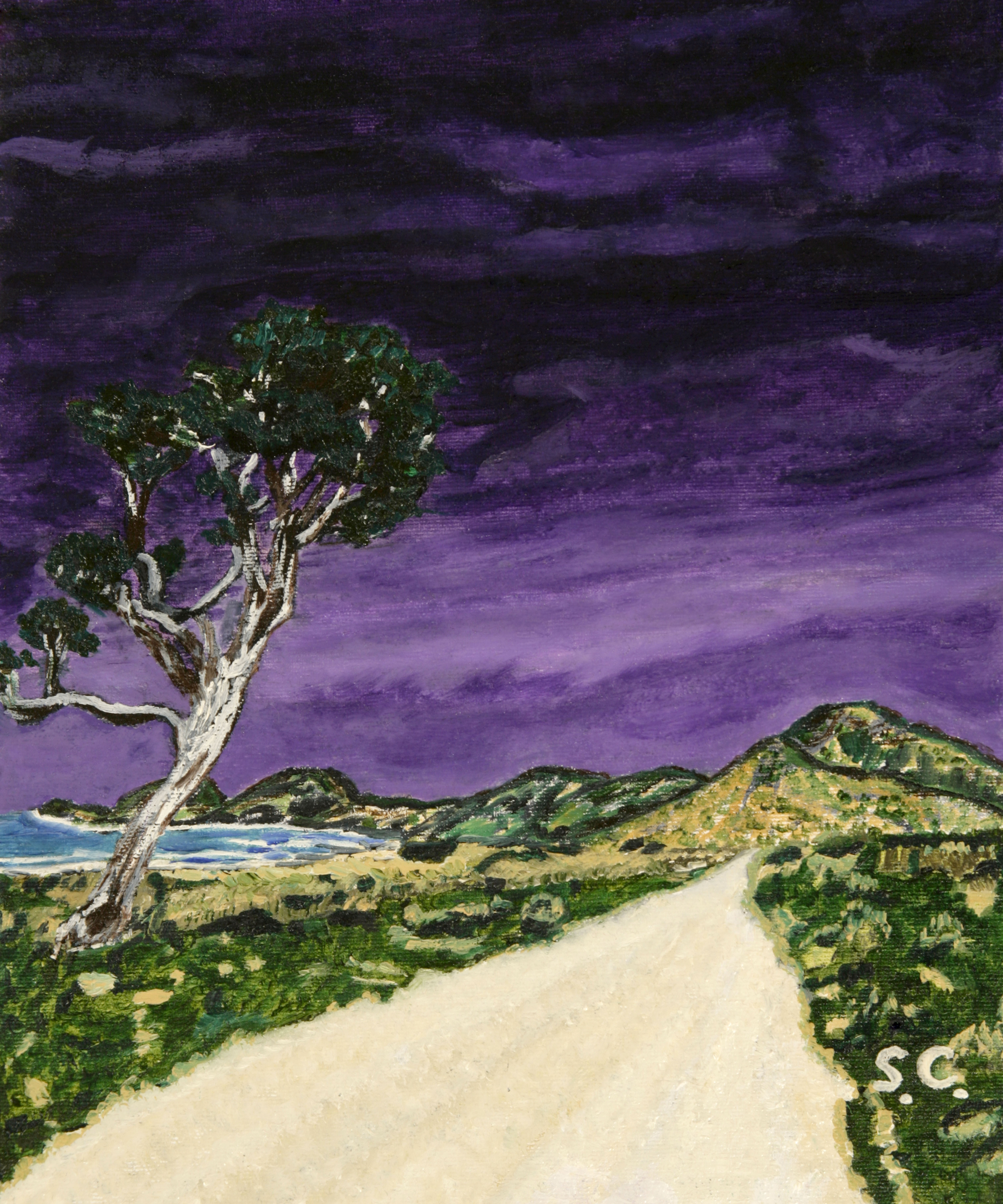 012 The Tree, Purple Sky, White Road